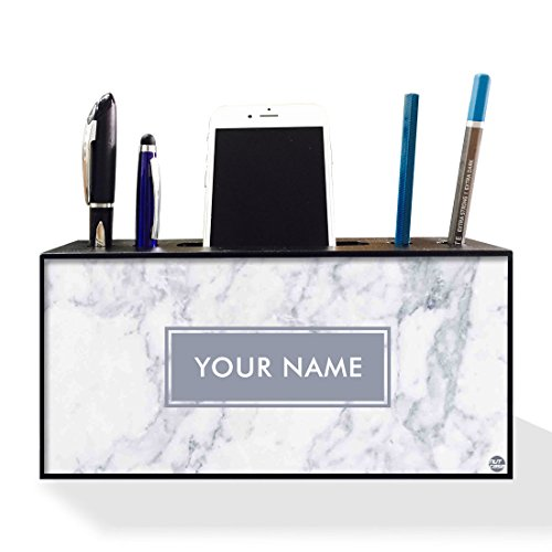 Stand Marble Pen (Nutcase Personalized Pen Mobile Stand Holder for Office Table-Wooden Desk Organizer-4