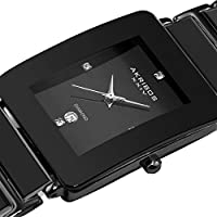 Akribos XXIV AK521 reloj de movimiento de cuarzo de cerámica rectangular para hombres pulsera con eslabones internos (negro sobre negro)