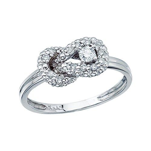 14K White Gold Knot Diamond Ring. Size ()