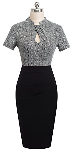 HOMEYEE Women's Short Sleeve Business Church Dress B430 (4, Gray) by HOMEYEE (Image #1)'