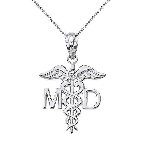 - 10k White Gold Solitaire Diamond Caduceus MD Charm Medical Doctor Necklace, 16