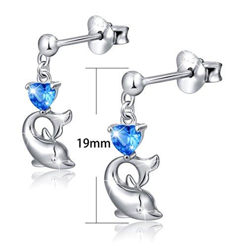 LINLIN FINE JEWELRY 925 Sterling Silver Cubic Zirconia Blue Cz Heart Dolphin Stud Earrings for Women by LINLIN FINE JEWELRY (Image #4)