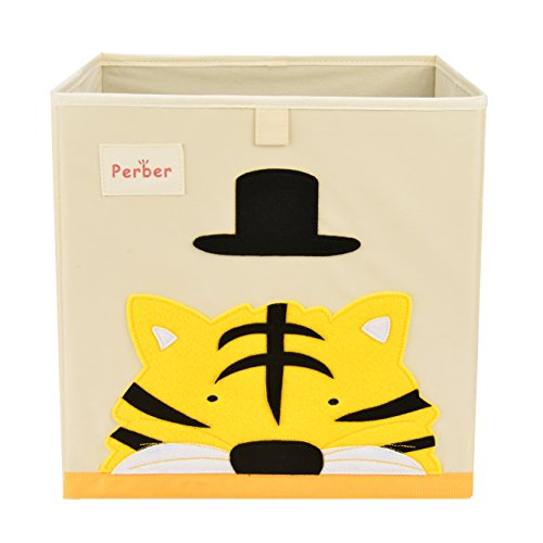 Perber Collapsible Storage Cubes Bin 13x13x13,Decorative Foldable Oxford Storage Box Baskets Containers- Large Organizer for Nursery Toys,Kids Room,Towels,Baby Clothes, Beige- Tiger