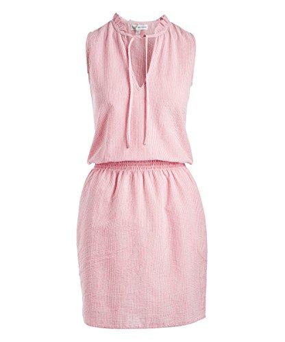 Go CoCo Seer Sucker Stripe Dress with Adjustable Tie Neck Line (Large)