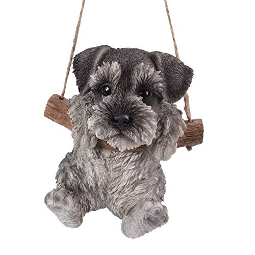 - Pacific Giftware Realistic Mini Schnauzer Puppy Hanging from Branch Rope Hanger Statue