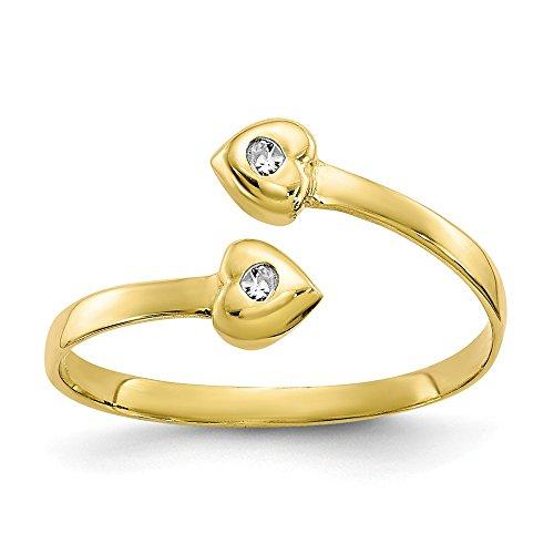 10k Solid Yellow Gold Cubic Zirconia Toe Ring 10k Diamond Toe Ring