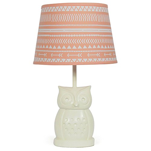 Coral Tribal Nursery Lamp Shade with White Owl Base, CFL Bul