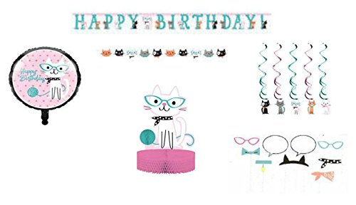 (ShoppeShare Kitty Cat Birthday Party Decoration Supplies, Purr-FECT Cat Theme, Banner, Balloons, Centerpiece, Dizzy Danglers, Photo Props, 6-Piece Bundle)