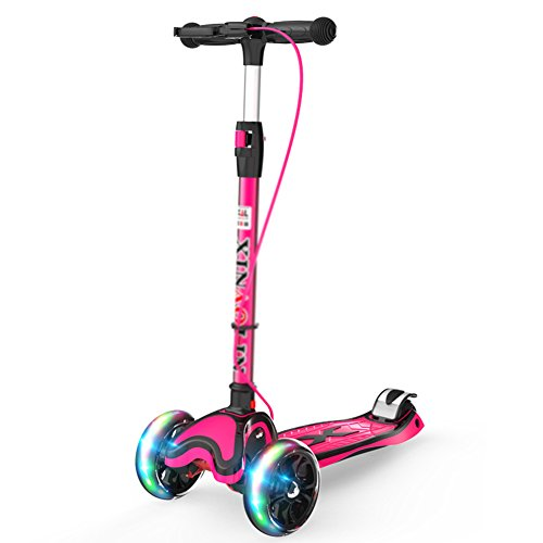 Scooters Kick Child Flash 4 Rounds 2-12 Years Old with Hand Brake for Boys/Girls/Children (Color : Pink) (Best Stunt Scooter For 12 Year Old)