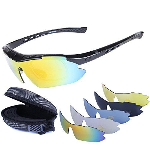 046599e639d Polarized Sports Sunglasses Cycling Baseball Running Fishing Driving Golf Hiking  Biking Outdoor Glasses with 5 Interchangeable Lenses OTG Motorcycle Bicycle  ...