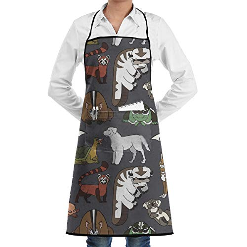 LALACO-Design Avatar Menagerie Cooking Women Kicthen Bib Aprons with Pockets for Chef,Grandma Suitable for Baking,Grilling,Painting Even Fit for Arts,Holiday -