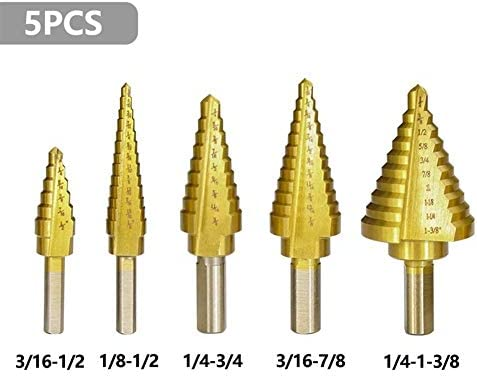 Step Drill Bit Use for Metal Working,5pcs HSS Straight Flute Step Drill Bit Set Pagoda Shape Hole Cutter in Aluminum Case Core Drill Bit