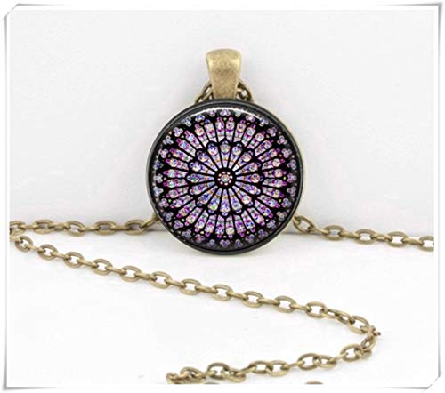 (Rose Window Stained Glass Necklace, Notre Dame de Paris Cathedral Pendant Necklace, Inspiration Jewelry)