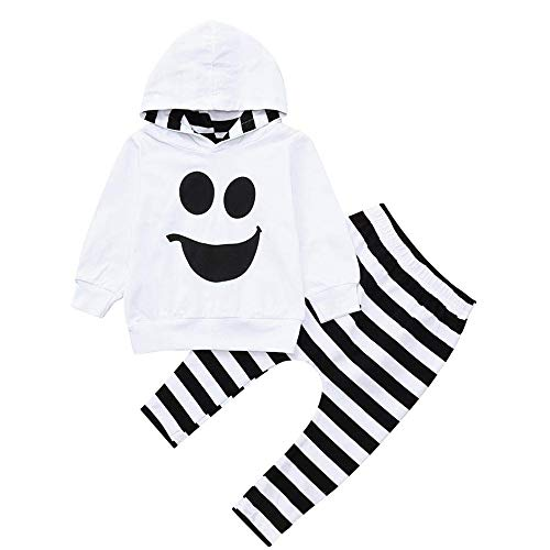 AR-LLOYD Cute Halloween Clothes Baby Boys Long Sleeve Smiley Face Hoodie Tops +Stripe Pants Outfit Sets (White, 90/1-2y) for $<!--$7.56-->