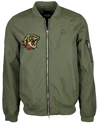 Blue Ocean Fashion Bomber Jacket with Patches-Medium