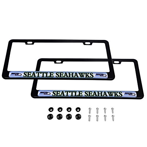 - CHNNFC 2 Pack Luxury Stainless Steel License Plate Frame and Colored Auto Emblem (Seattle Seahawks)