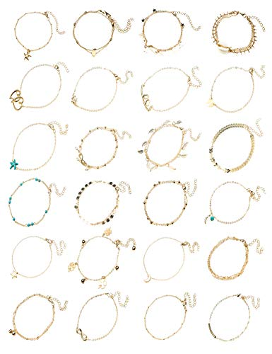 (WISCOON Ankle Bracelets for Women, 24 Pieces Ankle Bracelet Anklets for Women Anklet Foot Jewelry for Women Boho Jewelry for Women (24Pcs, Gold))
