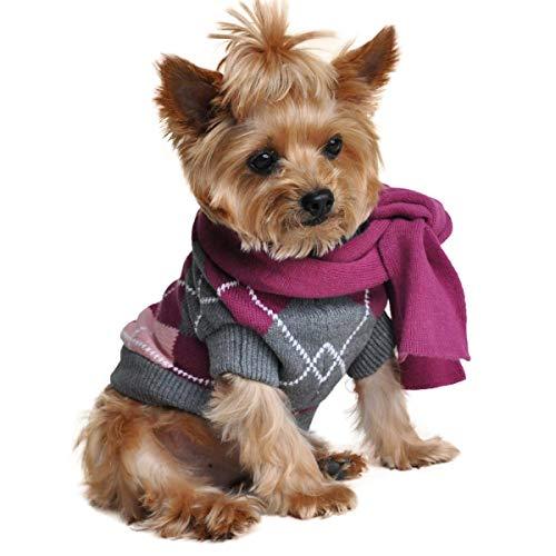 (Doggie Design Argyle Purple Plaid Dog Sweater with)