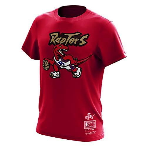 Mitchell & Ness Toronto Raptors NBA Gold Dribble Hardwood Classics Retro Logo Red Tee