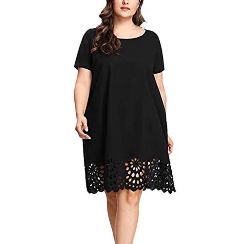 iLUGU Plus Size Fashion Women Solid Short Sleeve O-Neck Hollow Out Casual Dress