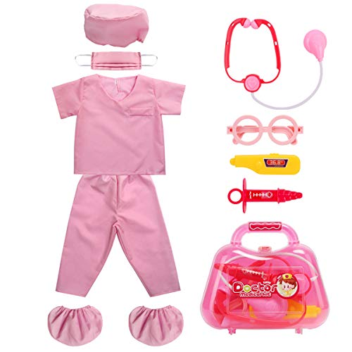 Doctor Halloween Costume Girl (Fedio Kid's Scrubs Doctor Role Play Costume Dress up Set with Doctor Medical Kit for Toddler Children Ages 3-5 (Hot)