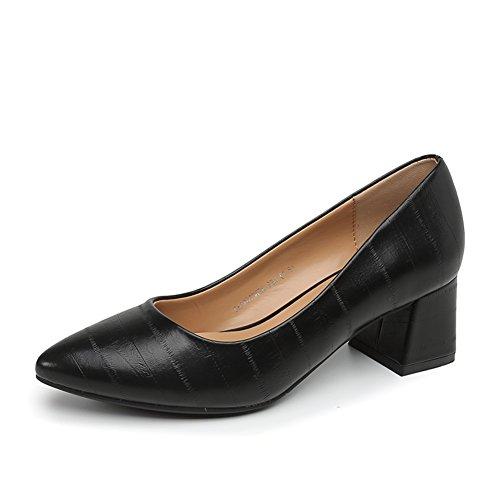 Damenschuhe,Dicke Ferse Schuhe-B Fußlänge=22.3CM(8.8Inch)