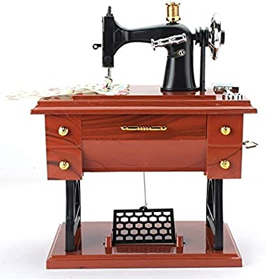 RTDUKYT Caja de música Antigua Caja de música de plástico Mini Estilo de máquina de Coser Decoración de Mesa de ...