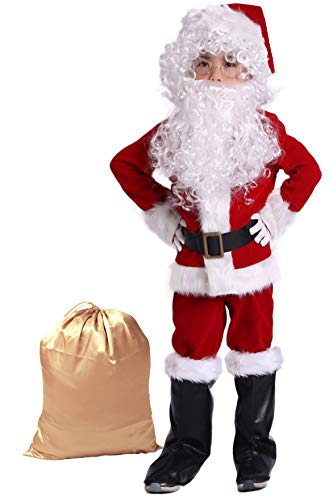 Takuvan Complete Christmas Boy's 10PCS Santa Suit Children Halloween Costume M