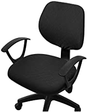 Fuloon Office Computer Chair Covers,Stretch Jacquard Washable Universal for Desk Rotating Chair Slipcover Seat and Backrest Cover (Black)