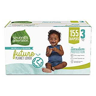 Seventh Generation Baby Diapers, Size 3, 155 count for Sensitive Skin (Packaging May Vary)