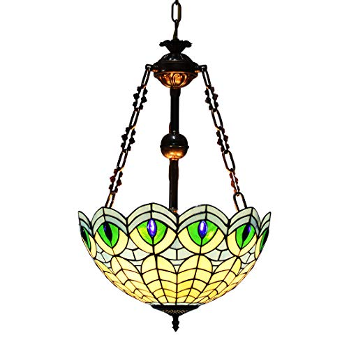 Makenier Vintage Decorative Tiffany Style Stained Glass Blue Peacock Feathers Big Inverted Ceiling Pendant Lamp Fixture, 16 Inches Shade
