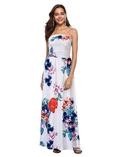 (GloryStar Women Strapless Maxi Boho Vintage Summer Beach Floral Print Hawaiian Party Long Dress (XL, Flower2))