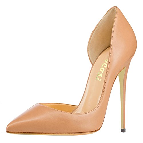 Women's High Heel Stiletto Pointed Toe Pumps (Apricot) - 7