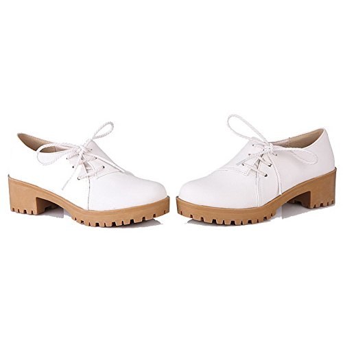 Odomolor Women's Lace-up Kitten-Heels PU Solid Round-Toe Pumps-Shoes, White, 39