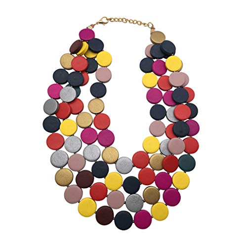 - JHWZAIY 4 Layers Wood Beaded Strand Statement Necklace for Women Chunky Collar (Multicolor)