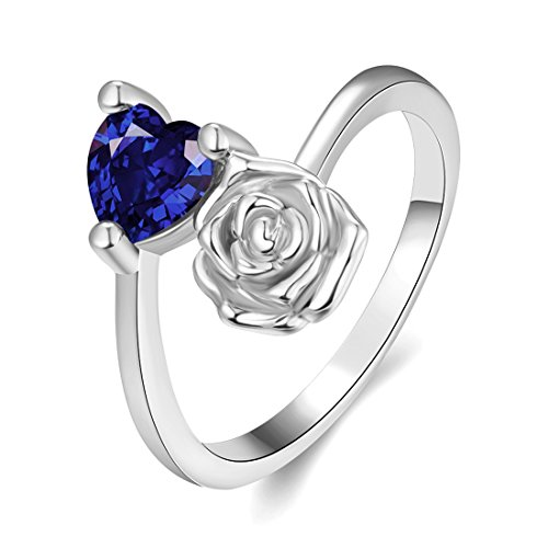 Queen Of Hearts Costume Walmart ([Eternity Love] Women's Pretty 18K White Gold Plated Elegant Imitation Sapphire Heart Crystal Wedding Engagement Band Rings Best Promise Rings for Her TIVANI Anniversary Collection Jewelry Rings)