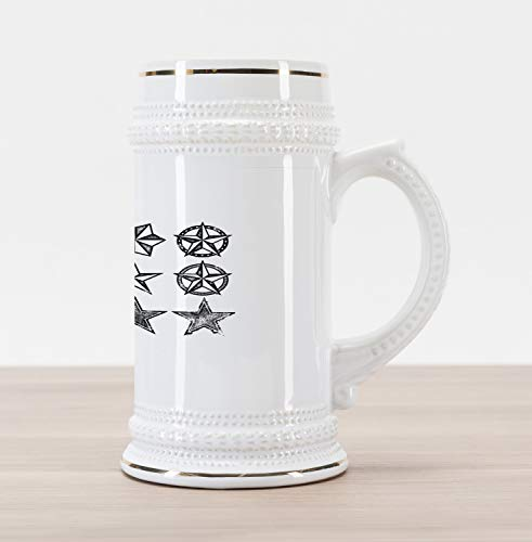 Lunarable Texas Beer Stein Mug, Grunge Looking Distressed Stars Collection Monochrome Design Old Fashioned Western, Traditional Style Decorative Printed Ceramic Large Beer Mug Stein, Black White