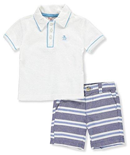 Button Welt Pockets (Original Penguin Penguin Baby Boys Knit Shirt and Short Set, White-Gkhg, 18M)