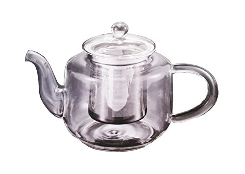 Happy Sales 32 oz Clear Heat Resistant Borosilicate Glass Teapot & Stainless Steel Infuser for loose tea