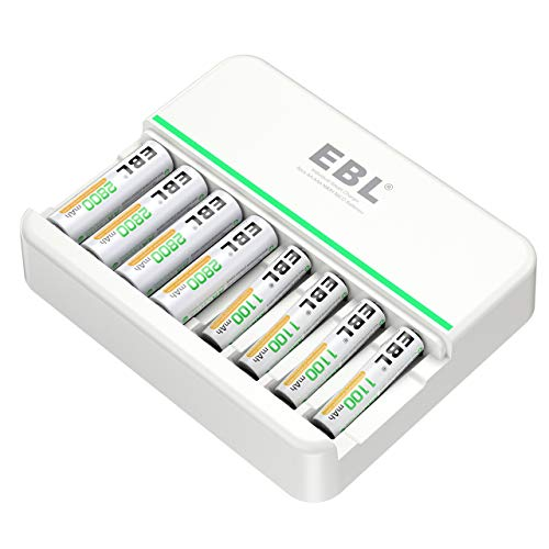 EBL AA AAA Rechargeable Battery Charger - Highest Charging Speed (600mA for AA / 400mA for AAA) - Individual 8Slot AA AAA Battery Charger