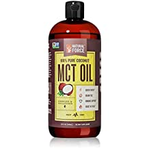 Coconut MCT Oil, Best for Brain Health and Metabolism – C8, C10, & C12 MCT *High Octane Keto Fuel Made from Non-GMO Verified Organic Coconuts* Best Selling MCT Oil by Natural Force, 32 Ounce