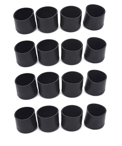 Antrader PVC Round Table Chair Leg Tips Caps Furniture Feet Pads Tile Floor Protectors, 1-1/2 Inches, 16 Pack, Black