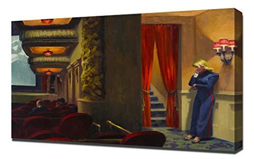 Edward Hopper - Newyork Movie - New York Cinema Framed Canvas Art Print Reproduction