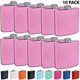 Clear Water Home Goods - 6 oz Powder Coated Stainless Steel Hip Flask - Wedding Party - Groomsman - Bridesmaid (Matte Light Purple, 10)