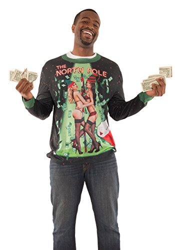 (Faux Real Men's Sublimated Ugly Xmas Sweater Long Sleeve T-Shirt, North Pole,)