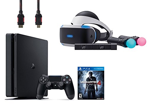 PlayStation VR Start Bundle 4 Items:VR Headset,Move Controller,PlayStation Camera Motion Sensor,PlayStation 4 Slim 500GB Console – Uncharted 4