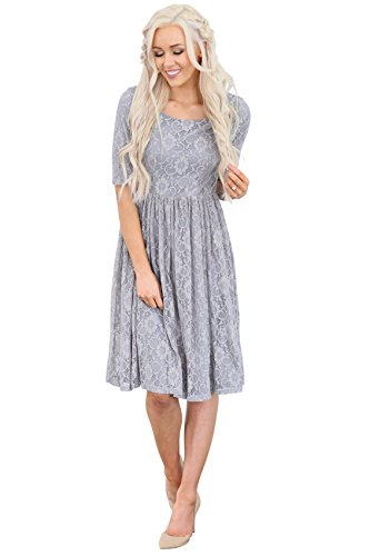 Gray Lace Dress (Mikarose Emmy Modest Dress in Slate Gray Lace, Modest Bridesmaid Dress or Semi-Formal Dress - L)