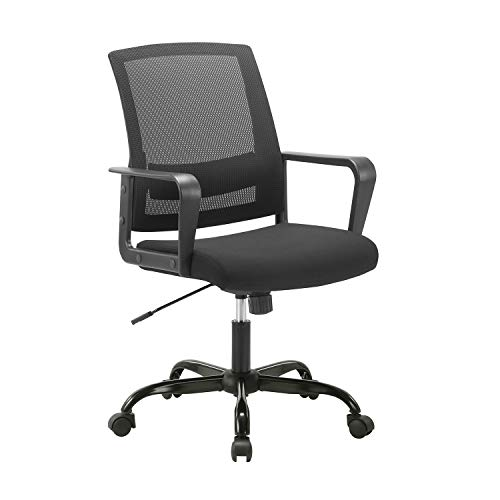 CLATINA Ergonomic Rolling Mesh Desk Chair with Executive Lumbar Support and Adjustable Swivel Design for Home Office Computer BIFMA Certified Black