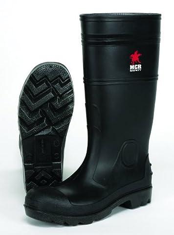 MCR Safety PBP1209 Waterproof PVC Men's Knee Boot with Plain Toe, Black, Size 9, (Mens Plain Toe)