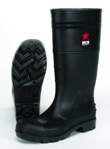 MCR Safety PBP1209 Waterproof PVC Men's Knee Boot with Plain Toe, Black, Size 9, 1-Pair